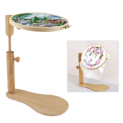 360° Rotate Tapestry Embroidery Hoop Solid Wooden Lap Seat Frame Fr Cross Stitch