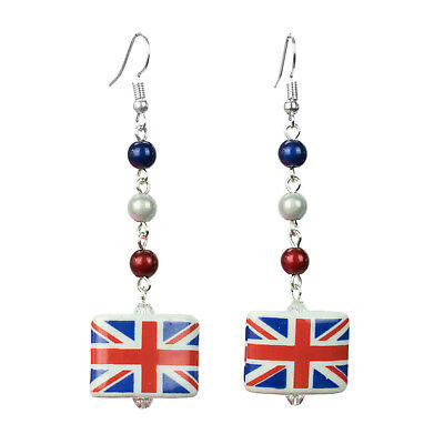 Union Jack Flag Earrings Silver Dangle GB Patriotic Support Team UK Retro Party