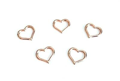5/10 Rose Gold OPEN HEART Pendant Charms Jewellery Making -14mm -  lady-muck1