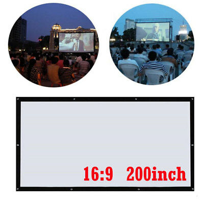 "200"" Folding Outdoor Film Movie HD Projector Screen Curtain Portable 16:9 Canvas"