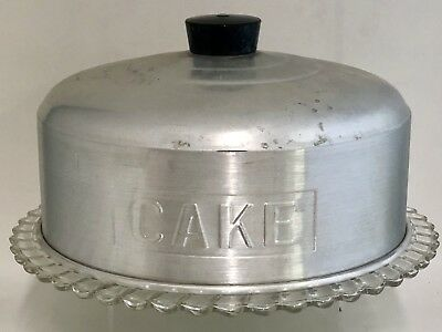 Vintage Aluminum Metal Dome Cake Saver Cover & Depression Glass Footed Plate Mcm