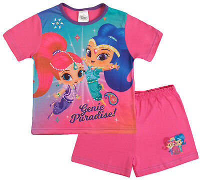 Shimmer And Shine Pyjamas Girls Pink Genie Character Pjs T Shirt + Shorts Size
