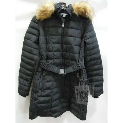 A PEA IN THE POD Faux Fur Trim Hooded Maternity Jacket Coat SMALL New