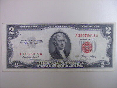 1953 $2 Dollar Bill Old Us Note Currency Red Seal