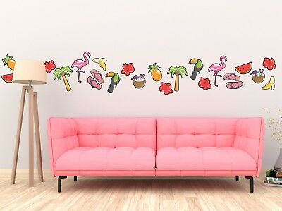 TROPICAL THEME WALL STICKERS PACK flamingo toucan pineapple cocktail decal art