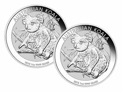 Lot of 2 - 2018 $1 1oz Australian Silver Koala .9999 BU