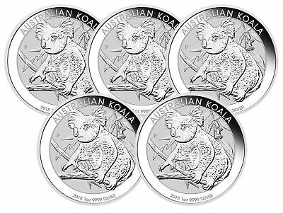 Lot of 5 - 2018 $1 1oz Australian Silver Koala .9999 BU