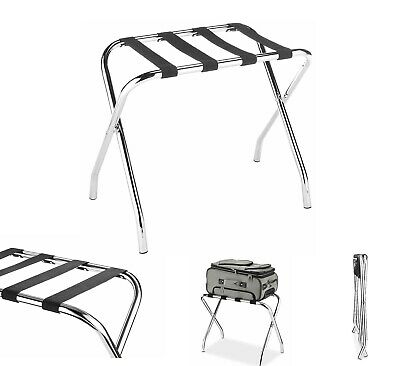 Luggage Rack Chrome Folding Bag Stand Deluxe Solid Guest Room Travel