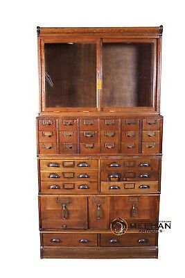 Globe Wernicke Oak Restored Sectional File Cabinet Bookcase