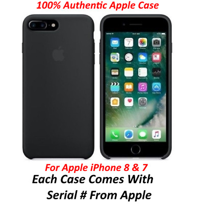 Genuine Apple iPhone 8/7 Slim Silicone Black Case Cover Retail Packing
