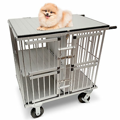 MiMu | Dog Trolly – Pet Trolley Dog Crate Dolly Dog Show Cart – 4 Door in Silver