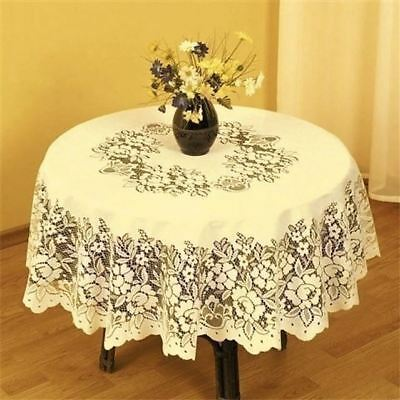 "Superb Cream Heavy Lace Round Table Cloth 50"" X 70"" Oval Fil"