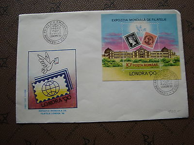 ROMANIA envelope 2/5/90 -stamp Yvert and Tellier bloc n°208 (cy2)