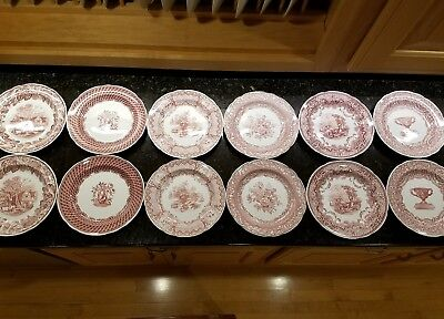 The Spode Archive Collection Victorian Series Rural Scenes Set Of 12 Plates Red