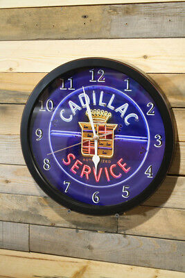 Cadillac Service Wall Clock Large 13 inch Non Ticking Sweep Hand Glass Exclusive