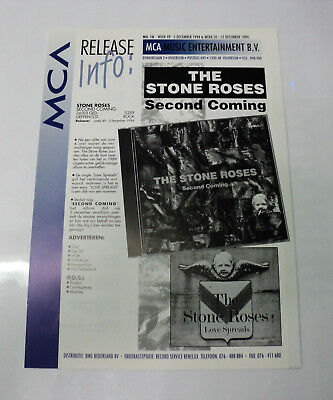 Stone Roses Dutch Holland Mca 1994 Promo Release Sheet Second Coming Love Spread
