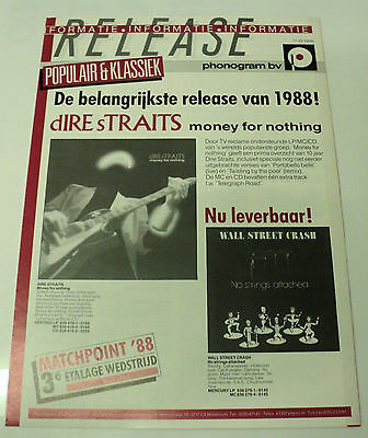 Dire Straits Dutch Holland Phonogram 1988 Promo Brochure Money For Nothing
