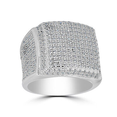 Men's Large Solid 925 Silver 4ct Square Diamond Pinky RING 14k Gold ICY Bling