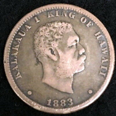 1883 Kingdom of Hawaii 25 Cent Silver Quarter Circulated Key Date Coin 1HQ4261