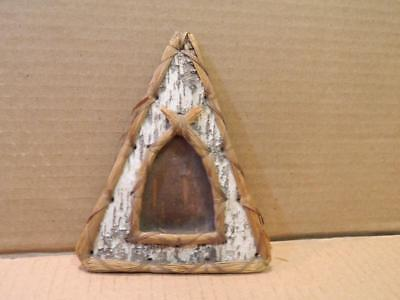Hand Carved Birch Bark Teepee Shaped Frame Native American Vintage