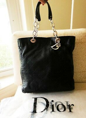 CHRISTIAN DIOR LARGE Shopper Tote Black Leather Cannage -  899.00 ... 907813309c468