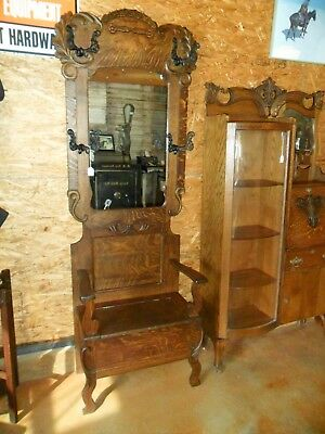 1900's Quarter Sawn and Tiger Oak Hall Tree with Storage Seat Mirror