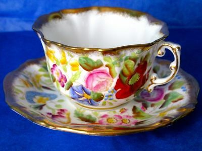 Hammersley & Co Stunning QUEEN ANNE Hand Painted Flowers Bone China Cup & Saucer