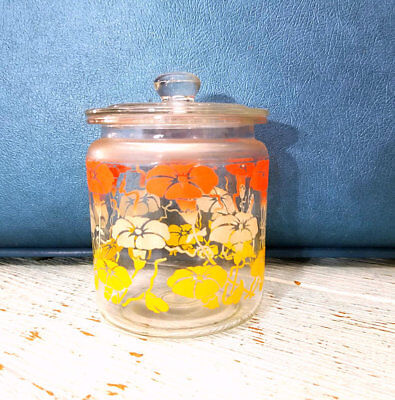 Vintage Apothecary Style Morning Glory Retro Glass Jar with Lid, Glass Canister