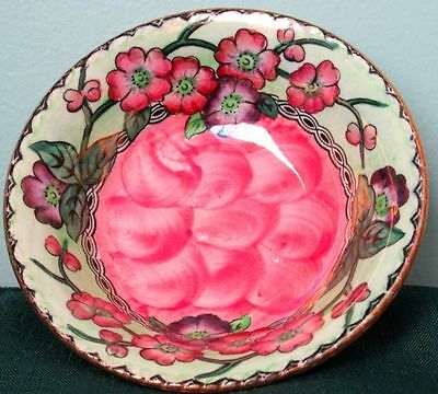 """Art Deco MALING """"MAY BLOOM"""" Lustre Hand Painted Pottery Trinket Dish ca.1930s"""
