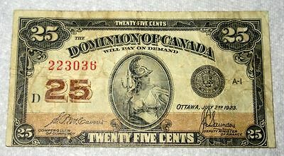 1923 Dominion of Canada Twenty Five Cents McCavour-Saunders Banknote