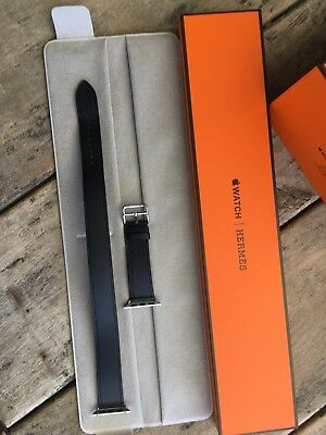 Hermes Double Tour Apple Watch Band In Dark Blue Genuine