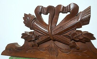 Carved Wood Pediment Antique French Bow Flower Architectural Salvage Panelling