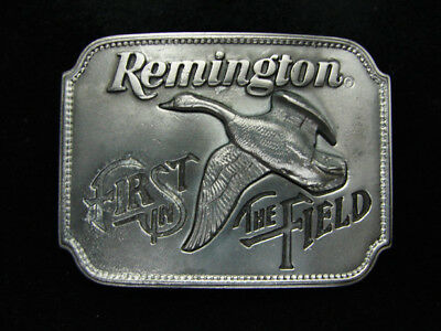 Pd19112 Vintage 1980 **remington First In The Field** Canada Goose Gun Buckle