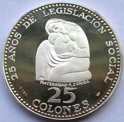 Costa Rica 1970 Month Family 25 Colones 1.73oz Silver Coin,Proof