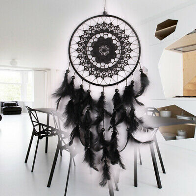 Large Handmade Dream Catcher Feather Lace Black Home Wall Hanging Decor Ornament