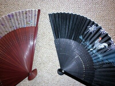 2 Vintage Timber And Fabric Folding Fans Good Condition