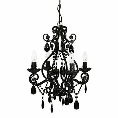 New Tadpoles 4-Bulb Vintage Plug-In Mini-Chandelier Dainty and Classic Black