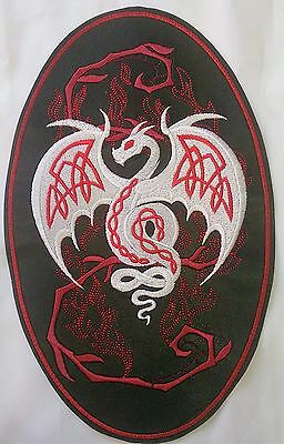 Faux Leather Embroidered with Celtic Dragon Motif/Patch/Badge/Applique/ Biker