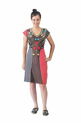 Women's Summer Short Sleeve Dress With Colorful Leaves Pattern Prints