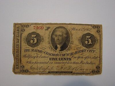 Rare 1862 New Jersey 5 Cent Fractional Currency Note Jersey City