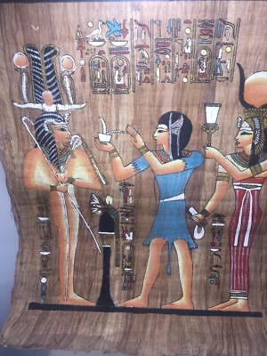 Lot of 2 Egyptian Paintings on Papyrus Paper 17 X 24 Inches with Certificate