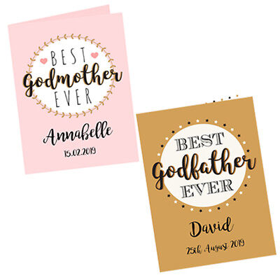 Personalised Best Godmother Godfather Godparent Thank You Card