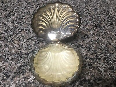 "Vintage English Silverplate Hinged ""Clam Shell"" Caviar Butter Soap  Glass Insert"