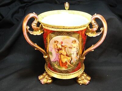 Rare 19th C. Ackermann & Fritze Royal Vienna Hand Painted Porcelain Loving Cup