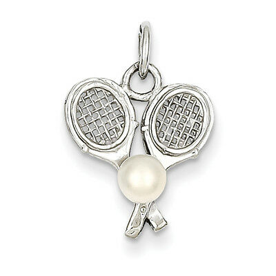 14k White Gold Tennis Racquets with Cultured Charm K1114