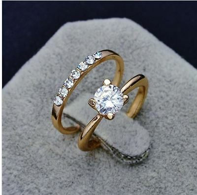 18K rose gold plated round cut cubic zirconia fake engagement wedding love ring