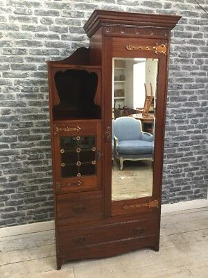 Antique Arts And Crafts Wardrobe / Hallrobe Manner Of Shapland & Petter
