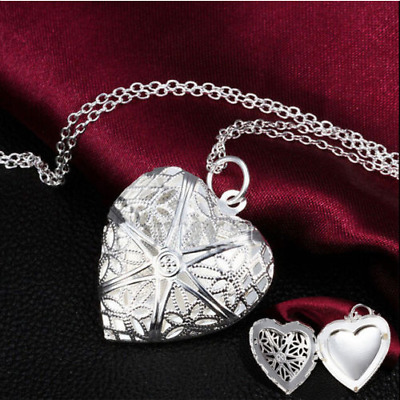 Wholesale Chic Picture Locket Hollow Heart Photo Pendant Silver Chain Necklace U