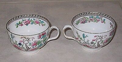 Wonderful Pair of VTG Royal Doulton Dresden Indian Tree Coffee Cups E3750