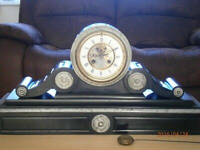 19th Century Marble DRUM Clock ELKINGTON & Co LIVERPOOL with French Movement